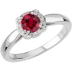Unusual 8 Prong Diamond Ring set with Low Price on .76ct 5mm Round cut Ruby-Super GEM Ruby Stone for SALE