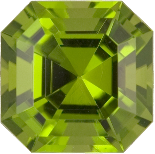 Unusual Asscher Cut Bright Summer Green Peridot, 11.5 x 11.4mm, 8.13 carats