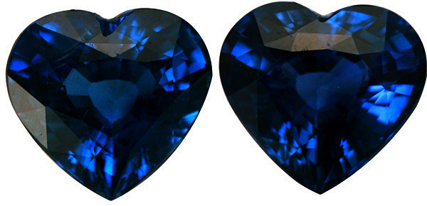 Unusual Fine Heart Shape Ceylon Sapphire Gemstones Matched Pair, 7.39 carats, 8.86 x 9.64 mm - SOLD