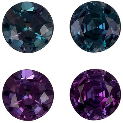Unusual Fine Pair of Color Change Alexandrites in Round Cut, 0.42 carats, 3.4 mm, Brazil Origin
