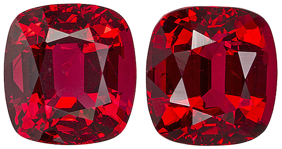 Unusual Red Colored   Spinel Gems - Great Matched Pair, 5.9 x 5.5 mm, Cushion Cut, 2.1 carats