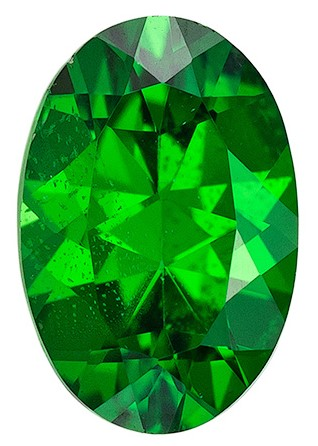 Unusually Fine  Green Tsavorite Genuine Gemstone, 0.45 carats, Oval Shape, 5.8 x 3.9 mm