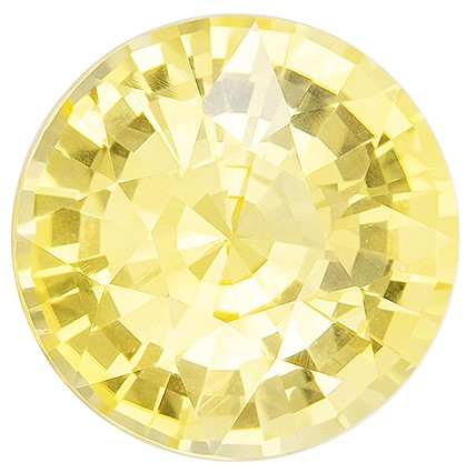 Unusually Fine  Round Cut Natural Yellow Sapphire Gemstone, 1.5 carats, 6.7 mm , Huge Presence