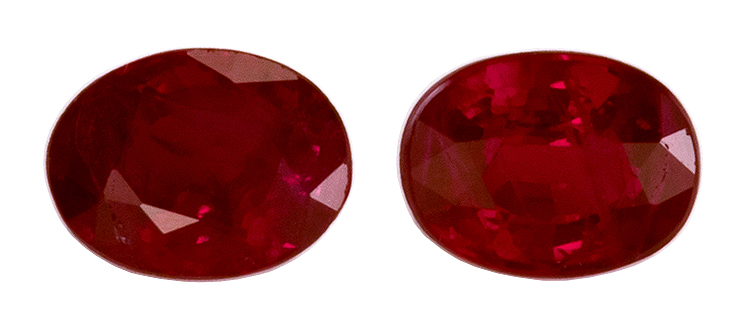 Super Great Buy on Oval Cut Genuine Ruby Gemstones, 0.55 carats, 4.2 x 3.2 mm Matching Pair, Full Brilliance