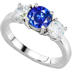 Updated Classic -  3-Stone Vivid GEM 1 ct+ 6.5mm Blue Sapphire & 1 ct tw Diamond Engagement Ring - Metal Type Options