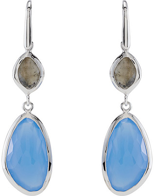 Urban Chic Blue Chalcedony & Labradorite Wire Back Dangle Earrings in Sterling Silver