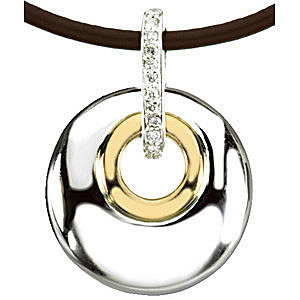 Urban Chic Circle Pendant With .07ct Diamond Studded Loop, 2 Tone Sterling Silver and 14k Gold With a Brown Leather Cord