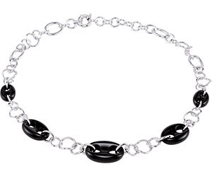 Urban Chic Marine Link 79.14ct 13x18.5x5.5mm Onyx Necklace With Sterling Silver Links - FREE Chain