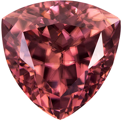 Value Price Brown Zircon Gemstone in Trillion Cut, Rose Brown, 10.3 mm, 5.8 carats