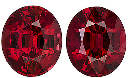 Velvety Rich Vivid Red Color Natural Burmese Red Spinel Gems - Perfect Matched Pair for Earrings, Oval Cut, 1.75 carats