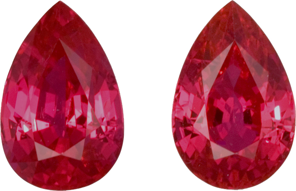 Fiery Ruby Matched Pair in Pear Cut, Pinkish Red Color in 8.2 x 5.4 mm, 2.81 carats