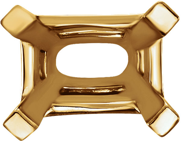 Versatile 14kt Gold 4 Prong Heavyweight Setting for Emerald Shape Gemstone Sized 4.00 x 3.00 mm to 10.00 x 8.00 mm