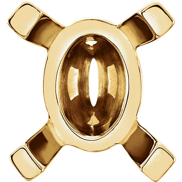 Versatile 14kt Gold 4-Prong Heavyweight Setting for Oval Gemstone Sized 10.00 x 8.00 mm to 20.00 x 15.00 mm
