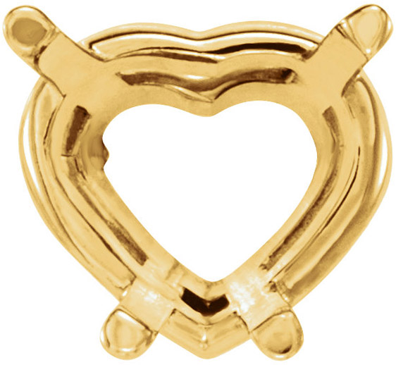 Versatile 14kt Gold 4-Prong Wire Basket Setting for Heart Shape Gemstone Sized 3.00 mm to 20.00 x 18.00 mm