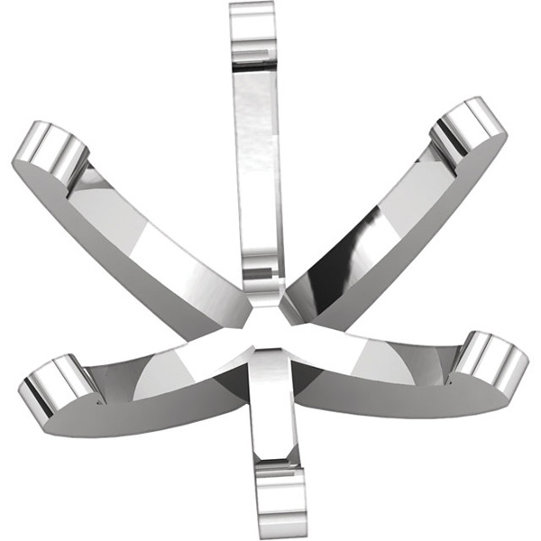 Versatile 14kt White Gold 6-Prong Tall Peg Setting for Round Gemstone Sized 2.40 mm - 9.70 mm