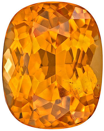 Very Appealing Fiery Spessartite Loose Gem in Cushion Cut, Nice Medium Orange Color in 7.6 x 6 mm, 1.81 carats