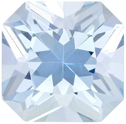 Very Attractive Aquamarine Loose Gem in Radiant Cut, Light Pure Blue, 7 x 6.9 mm, 1.48 Carats