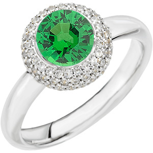 Very Attractive Large GEM Grade Vivid Green 1ct 6mm Tsavorite Garnet & Diamond Pave Ring in 14 kt Gold for SALE