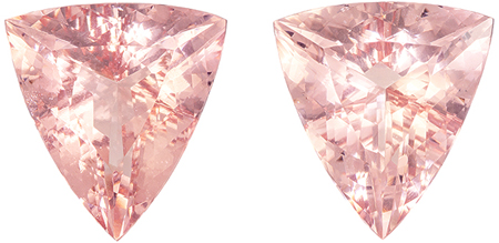Wow - Large Morganites in Well Matched Gemstone Pair, Very Fine Peachy Pink Color in Fancy Cut, 19.2 x 17.7 mm, 28.8 carats