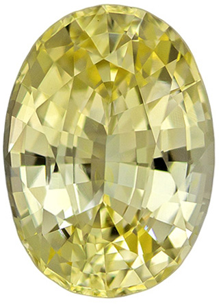 Very Attractive No Treatment Sapphire Loose Gem in Oval Cut, Soft Light Yellow, 8.0 x 5.8 mm, 1.46 carats - With GIA Certificate