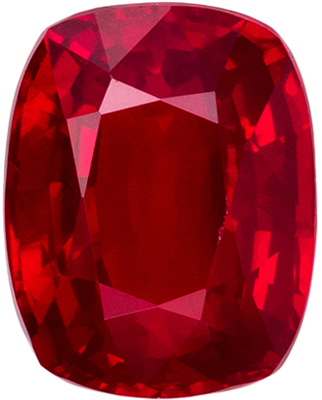 Very Attractive Ruby Genuine Gemstone, 5.8 x 4.5 mm, Pure Rich Red, Cushion Cut, 0.8 carats