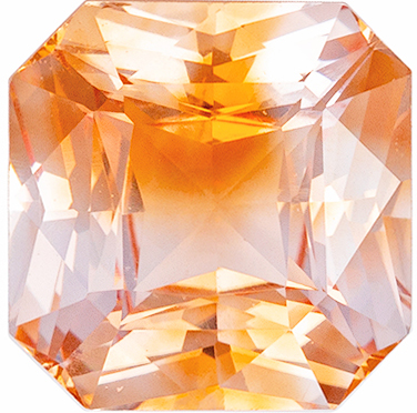 Rare Mixed Peach and White Colored Genuine Sapphire Gemstone in Radiant Cut, 6.5 x 6.4 mm, 1.43 carats