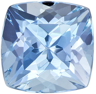 Very Bright Aquamarine Gemstone in Cushion Cut, Rich Pure Blue, 6.1 mm, 0.99 carats