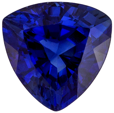 Very Bright Blue Sapphire Gemstone in Trillion Cut, 0.48 carats, Rich Blue, 4.6 mm