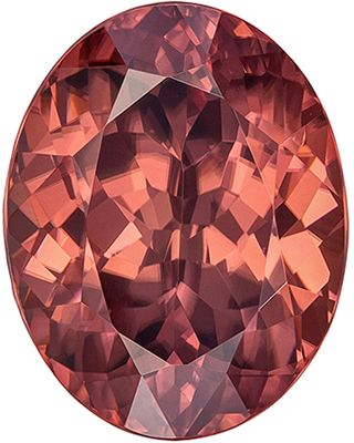 Very Bright Brown Zircon Loose Gemstone, Vivid Rosey Copper, Oval Cut, 11.1 x 8.8 mm, 5.54 carats