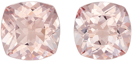 Very Bright Morganites in Matched Gemstone Pair, Bright Cushion Cuts in Vivid Peach Color in 4.91 carats , 9 mm