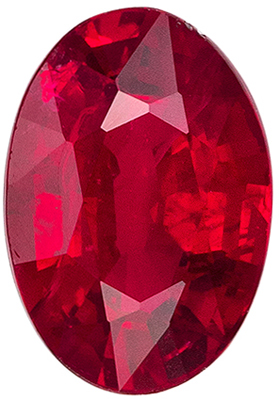 Very Bright Ruby Genuine Gemstone, Oval Cut, Pure Rich Red, 5.8 x 4 mm, 0.51 carats