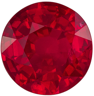 Very Bright Ruby Round Cut Loose Gemstone Rich Pure Red, 6.4 mm, 1.29 carats