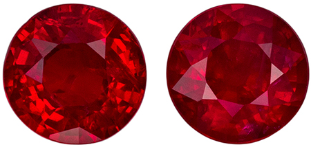 Very Bright Vivid Red Rubies in Well Matched Gemstone Pair - Great Size for Studsin Round Cut, 5.5 mm, 1.7 carats