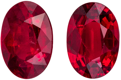 Very Bright Ruby Well Matched Pair, 6 x 4.1 mm, Pure Rich Red, Oval Cut, 1.12 carats