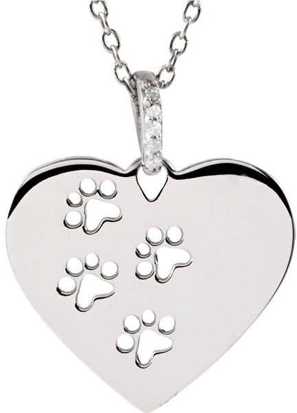 Very Cute! Heart Shaped Sterling Silver Pendant With Paw Cut-Outs - .02 ct tw Diamond Accents - FREE Chain