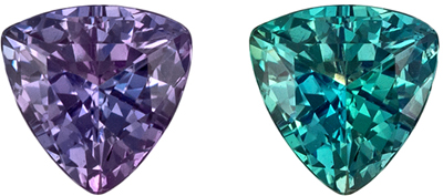 Very Desirable Alexandrite Loose Gem, Trillion Cut, Teal Blue Green to Burgundy, 4.1 mm, 0.29 carats