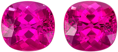 Stunning Earring Rubellite Tourmaline Pair Gemstones in a Popular Cushion Cut, Rich Fuchsia Color in 5.57 carats , 8.7 x 8.1 mm
