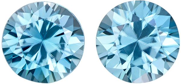 Very Desirable Zircon Well Matched Pair in Round Cut, Teal Tinged Rich Blue, 6.5 mm, 2.93 carats