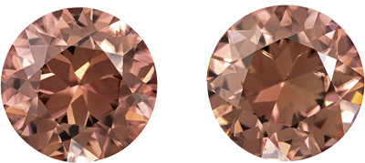 Very Desired Brown Zircon Well Matched Pair, 8.5 mm, Rich Rosey Brown, Round Cut, 6.19 carats