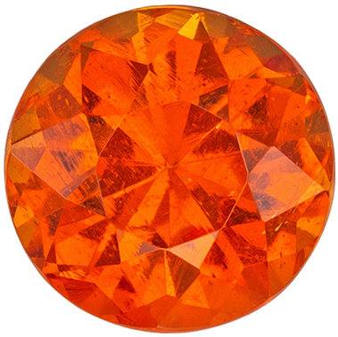 Very Desired Spessartite Genuine Gemstone, 6.9 mm, Sunkist Orange, Round Cut, 1.86 carats
