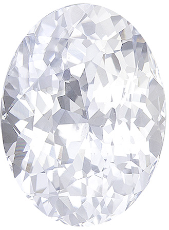 Very Diamond Looking Colorless White Sapphire, 11.1 x 8.3 mm, Oval Cut, 4.34 carats