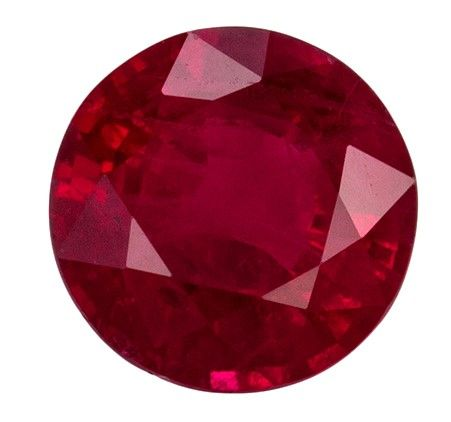 Very Fine 0.42 carats Ruby Loose Genuine Gemstone in Round Cut, Pure Red, 4.5 mm