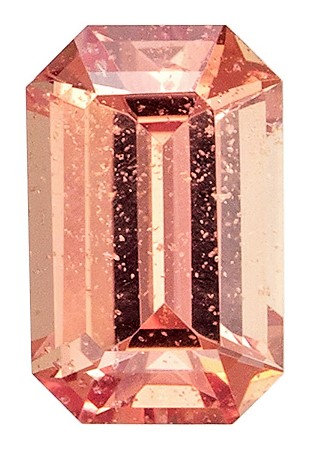 Very Fine 0.47 carats Sapphire Loose Gemstone in Emerald Cut, Pink Orange, 5.4 x 3.5 mm