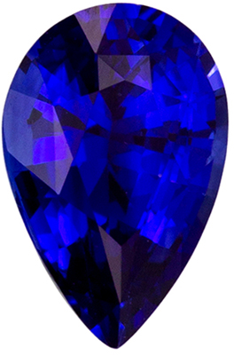 Very Fine 0.52 carats Sapphire Loose Genuine Gemstone in Pear Cut, Rich Blue, 6.1 x 4 mm