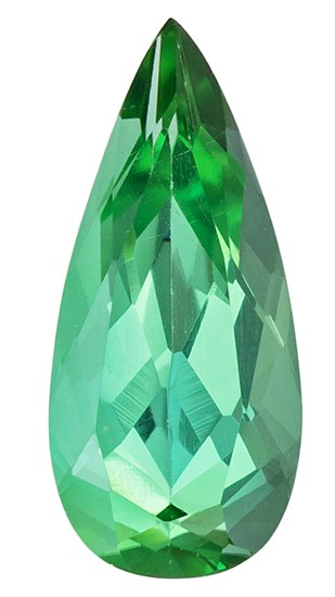 Very Fine 10.9 x 4.9 mm Tourmaline Loose Genuine Gemstone in Pear Cut, Vivid Green, 1.18 carats