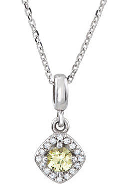 Very Fine .2ct 3.5mm Canary Yellow & White Sapphire Halo Style Pendant in 14K White Gold for SALE - Free Chain Included