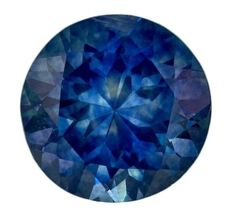 Very Fine 5.6 mm Sapphire Loose Gemstone in Round Cut, Blue Green, 0.91 carats