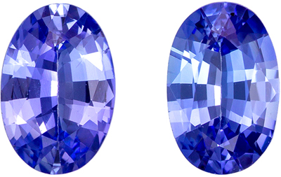 Very Fine 6.1 x 4 mm Sapphire Loose Genuine Gemstone Pair in Oval Cut, Vivid Blue, 1.02 carats