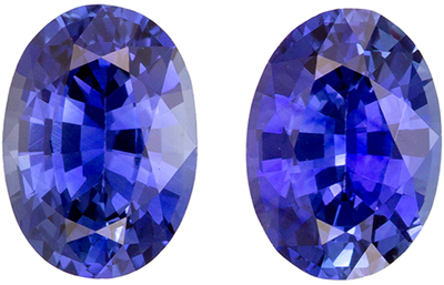 Very Fine 6.8 x 4.9 mm Sapphire Genuine Gemstone Pair in Oval Cut, Medium Blue, 1.69 carats