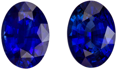 Very Fine 7 x 5 mm Sapphire Loose Genuine Gemstone Pair in Oval Cut, Vivid Blue, 1.73 carats